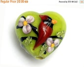 ON SALE 30% OFF Spring Red Cardinal Heart Focal Bead -11834405-Handmade Glass Lampwork Bead