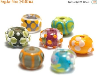 ON SALE 50% OFF Handmade Glass Lampwork Bead Set - Seven Colorful Rondelle Beads 11001001