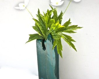 Art Pottery  Vase Woodland Style Hand Built, Sculptural, Gloss, Deep Turquoise Glazed Stoneware