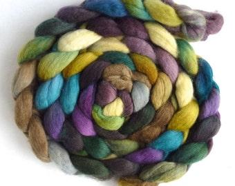 Finn Wool Roving - Hand Painted Spinning or Felting Fiber, Mountain's Edge