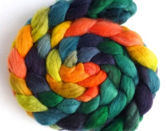 Corriedale Wool Roving - Hand Painted Spinning or Felting Fiber, Autumn Refrain