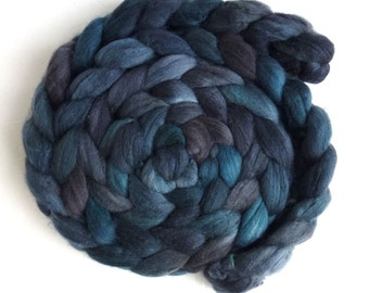 Pre-Order Colorway, Merino/ Silk Roving (Top) - Handpainted Spinning or Felting Fiber, Darkness