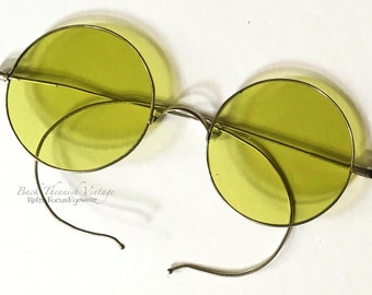 1920's Kiwi Green Sunglasses Non Rx Round Rare Unique Indie Grunge Alternative Hippie John Lennon Gypsy Coil Temples Rare Large