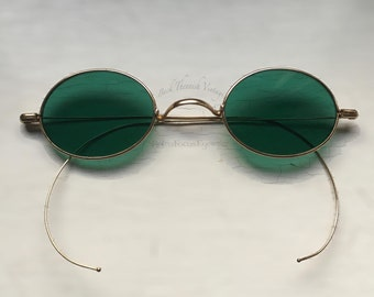 1920's Sunglasses Coil Cable Wire Temples Kelly Green Lenses Goth Retro Steampunk Gothic Cool Back Thennish Vintage