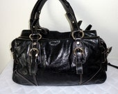 Italian glazed leather size Boston bag  Doctors bag satchel handbag purse in jet black slightly distressedgenuine  leather