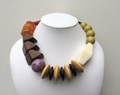 Necklace 2.9 - handmade, one of a kind statement necklace featuring vintage lucite, wood and glass beads