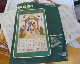 Bucilla Felt Kit Jeweled Nativity Advent Calendar 82017 Peace on Earth Vintage Kit Complete and Ready to Stitch