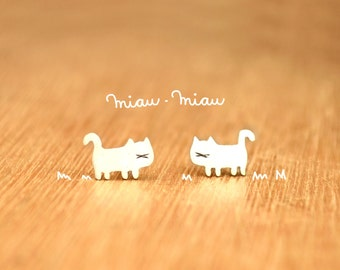 Tiny Cat- Stud Kitties Earrings- Sterling Silver - Cat lover gift