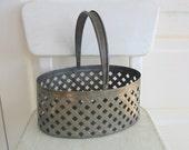 Vintage Metal Basket Easter Decor Industrial Storage