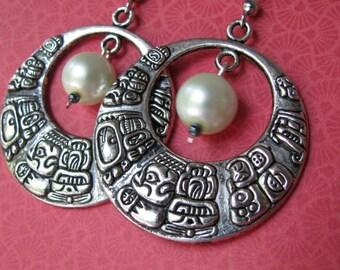 Hoop Earrings , White Pearl Earrings, Dangle Hoops, Mayan Glyph Earring, Mayan Hoops