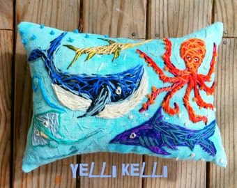 Large Custom Hand Embroidered Pillow any theme Made To Order YelliKelli