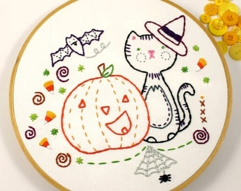 Happy Halloween Black Cat Pumpkin Hand Embroidery PDF Pattern