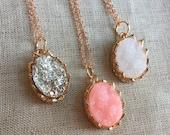Rose gold Druzy Necklace, resin druzy rose gold necklace, Faux Druzy Necklace, Druzy Pendant, Boho Jewelry, Druzy Necklace