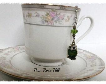 Rhinestone Green OWL Teaball Infuser