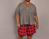 JULY SALE Vintage Plus Size Shorts // Red & Black Plaid Shorts // XL Xxl