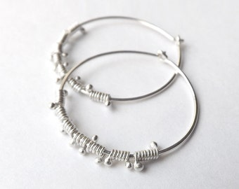Silver Hoop Earrings, Sterling Silver Hoops, Wire Wrap Dewdrop Lightweight Hoops Womens jewelry Gift for her