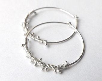 Silver Hoop Earrings, Sterling Silver Hoops, Wire Wrap Dewdrop Lightweight Hoops Womens jewelry Gift for her
