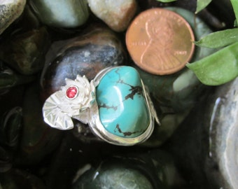 Sterling Silver Brutalist Water Lily and Turquoise Adjustable Ring