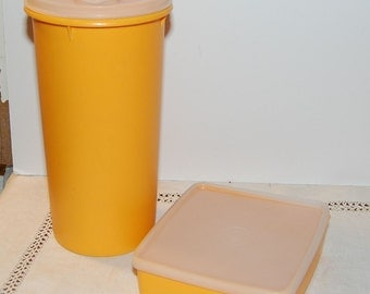 LOT of Vintage Tupperware Fall Colors Square & Tall  Storage Containers YELLOW