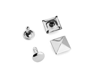 100pcs - 12mm Head x 10mm Post Rivet - Pyramid Cap - Nickel - Free Shipping (RIVET RVT-304)