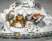 "Crochet Kitchen Hanging Towel, Two Cats ""Good Food, Good Life, Meow"" White top, Kay Dee"