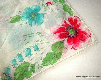 Vintage Cotton Handkerchief, Red and Blue Flowers, Floral, Hankie, Old, Hanky, Mid Century  (218-16)
