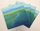 "Sandstone Beach Coasters - ""Making Space"" (4) 4x4 inches - Ocean Inspired - Art Tile - Gift - Home Decor"