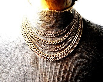 Industrial vintage 80s blush gold tone metal, 8 chain, bib-collar, adjustable  necklace.