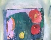 Roses in Terrarium, Original mixed media painting on arches paper