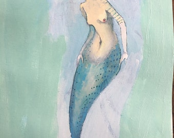 Mermaid, original watercolor and oil painting on paper