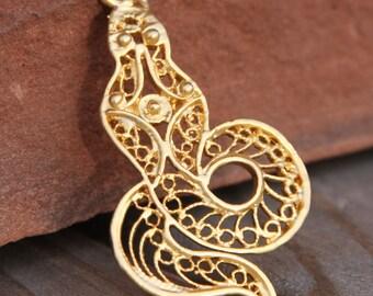 filigree cobra pendant gold plated