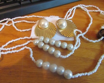 3 white pearl necklace