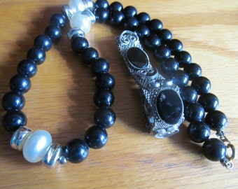 black onyx with black beads