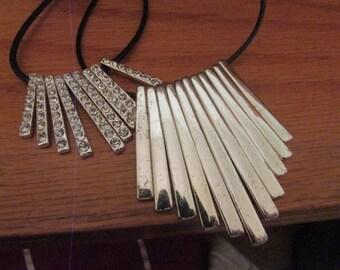 rhinestone fan bib necklace