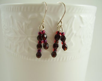 Minimalist Red Earrings - Red Glass Beaded Earrings - Tiny Red Beaded Earrings - Red Earrings - Gifts for Moms - Gifts for Her