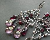 Filigree and gemstone chandelier earrings III - sterling silver, Mozambique red garnet, pink mystic quartz