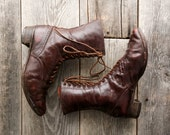 ON SALE Antique Victorian Shoes . Brown Leather Ankle Boots