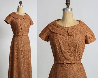 ON SALE 50s Lace Dress in Rust Brown . 1950s Mid Century