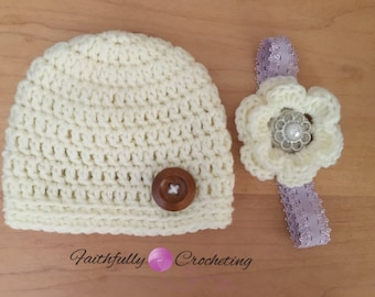 Newborn twin set... Beanie and matching headband... Photography prop... Ready to ship