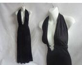 Vintage 70s Dress Size S Black Nylon Disco Rhinestone Glam Maxi Halter Backless 80s