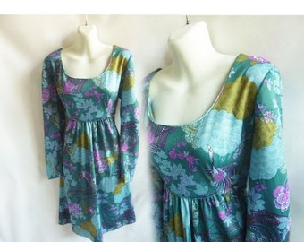 Vintage 70s Dress Size L Teal Blue Purple Disco Gogo Mod Psychadelic Hippie 60s