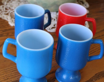 Vintage Fire King footed glass  coffee cups , blue  and red