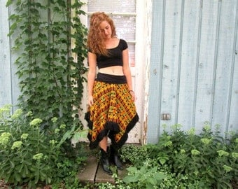 L-XL Tribal Sweater Knit Skirt Fringed// Black Multi Colored// Upcycled Fall Winter// emmevielle