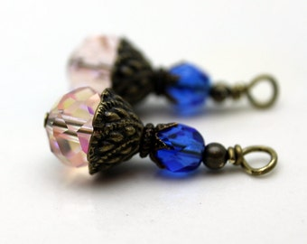 Vintage Style Pink AB Multifaceted Rondelle and Royal Blue Czech Crystal Bead Earring Dangle Necklace Charm Drop Set