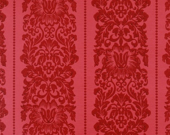 1970s Vintage Wallpaper Pretty Floral Red Damask Stripe by the Yard