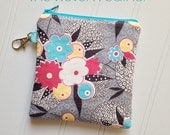 Zipper Pouch, Coin Purse, Cosmetic Bag - Handmade Pouch - with Lobster Claw - Jen Kingwell/ Garden Vale