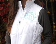 Monogram Puffy White Vest Preppy Womens Vest, Personalized Puffy Vest, Quilted Vest, Monogrammed Outerwear, Gifts for Her