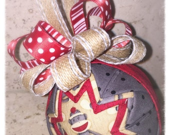 Sock Monkey fabric quilted ornament