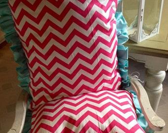 Pink Chevron chair cushions, custom chair cushions, custom chair pads, custom rocking chair cushions, rocking chair cushions, nursery