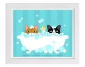 108D Cat Print - Two Cats in Bubble Bath Wall Art - Cat Wall Art - Cat Home Decor - Cat Prints - Bathroom Art - Bath Print - Art for Kids